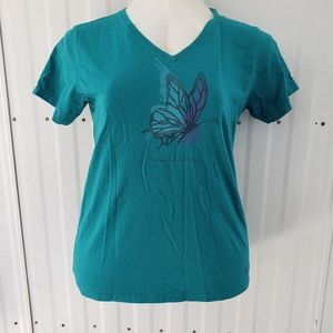 Two Life is Good T-Shirts, Aqua and Grey Sz L